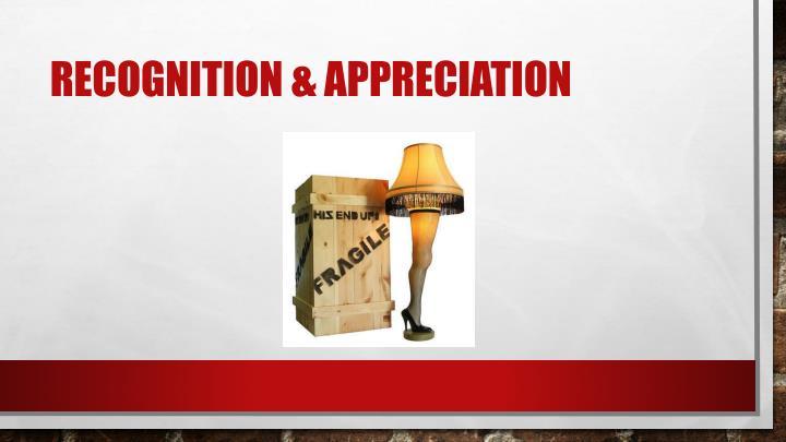 Recognition & appreciation