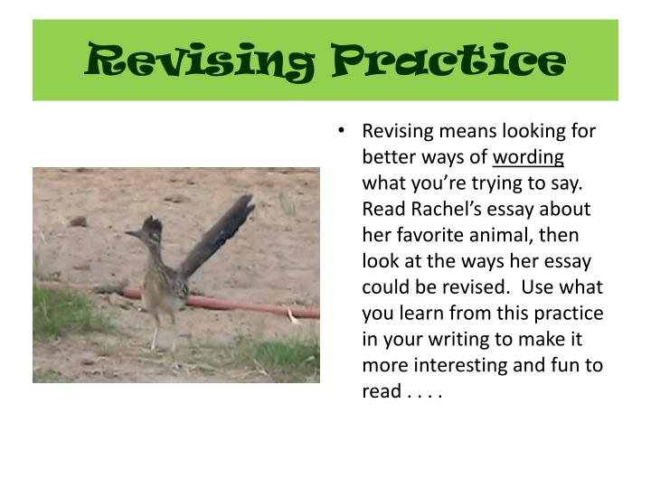 Revising practice