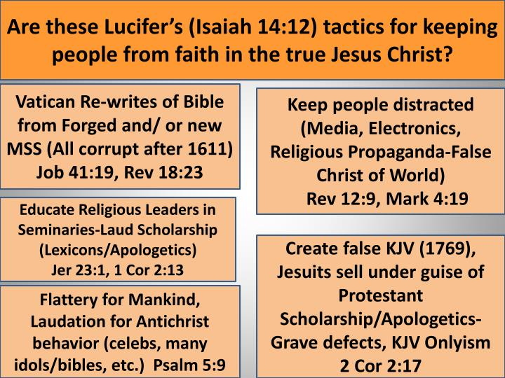 Are these Lucifer's (Isaiah 14:12) tactics for keeping people from faith in the true Jesus Christ?