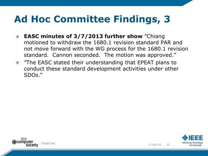 Ad Hoc Committee Findings, 3