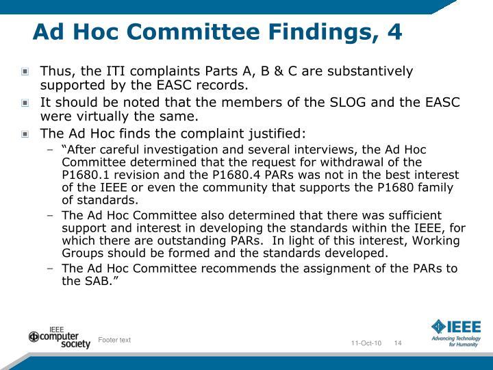 Ad Hoc Committee Findings, 4