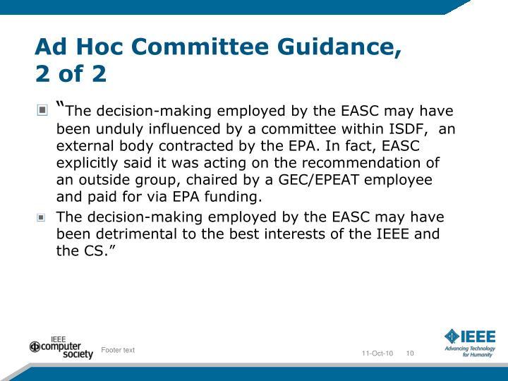 Ad Hoc Committee Guidance,