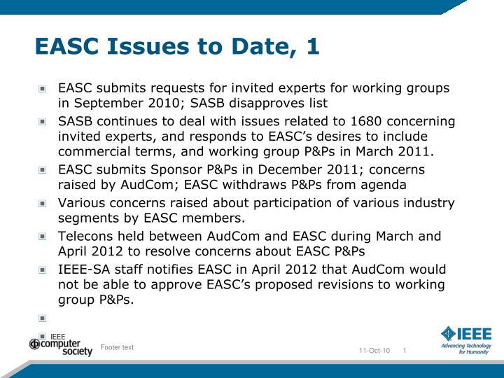 Easc issues to date 1