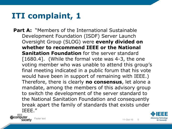 ITI complaint, 1