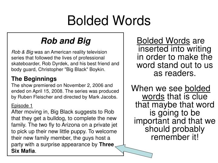 Bolded Words