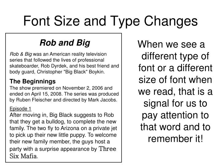 Font Size and Type Changes