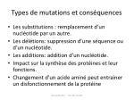 t ypes de mutations et cons quences