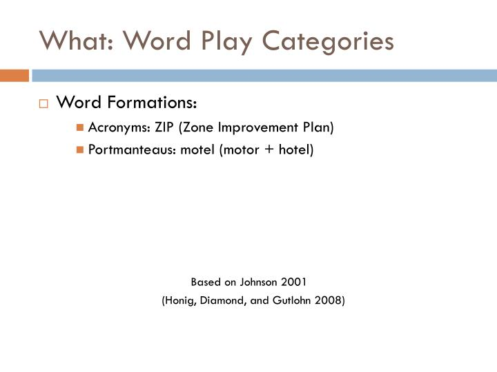 What: Word Play Categories