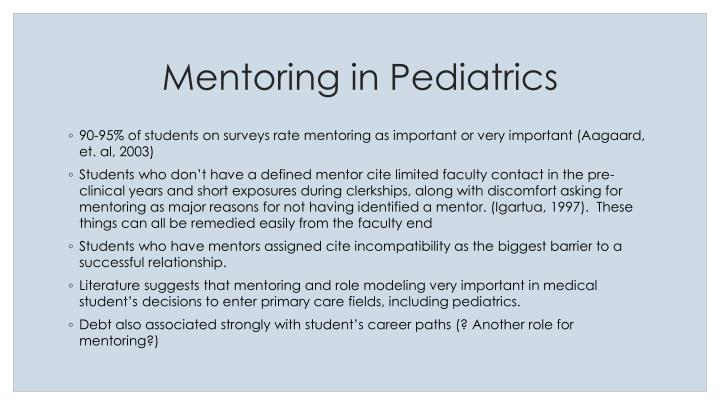 Mentoring in Pediatrics