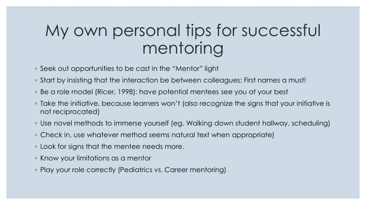 My own personal tips for successful mentoring