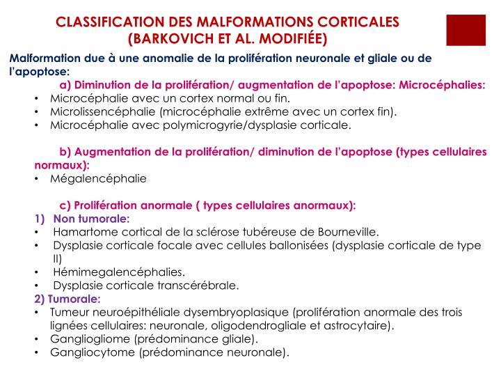 CLASSIFICATION DES MALFORMATIONS CORTICALES (BARKOVICH ET AL. MODIFIÉE)