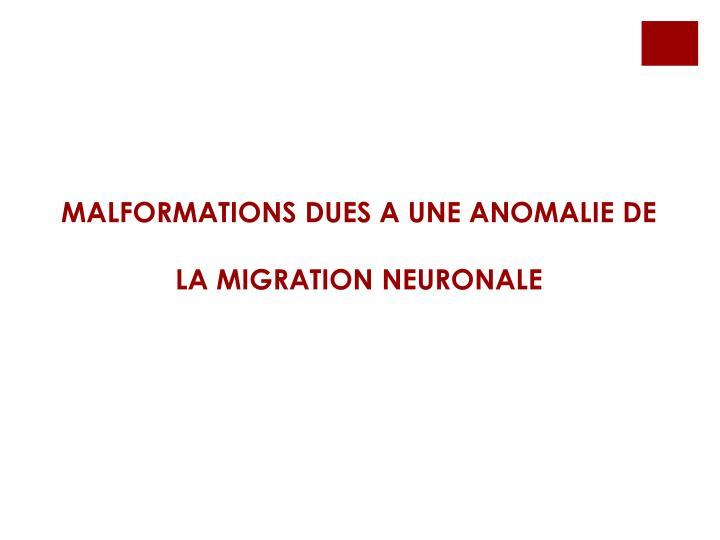 MALFORMATIONS DUES A UNE ANOMALIE DE LA MIGRATION NEURONALE