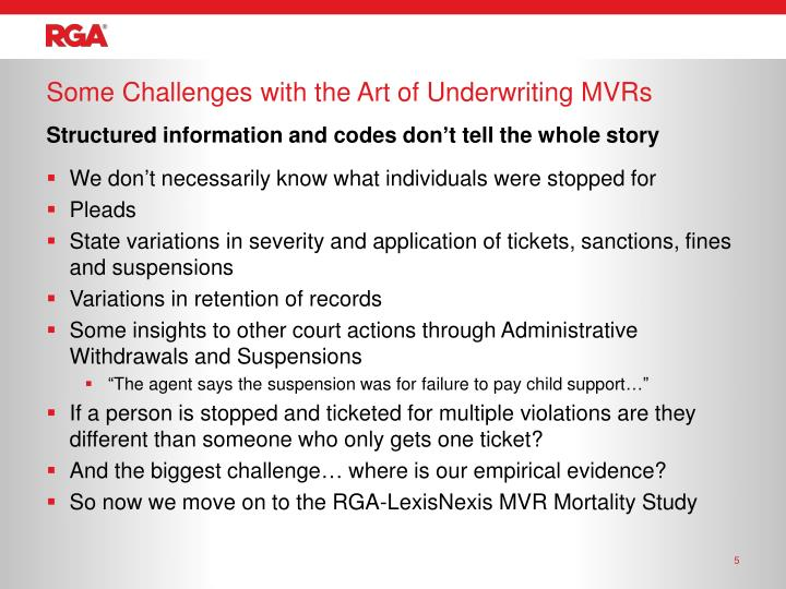 Some Challenges with the Art of Underwriting MVRs