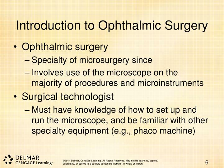 Introduction to Ophthalmic Surgery