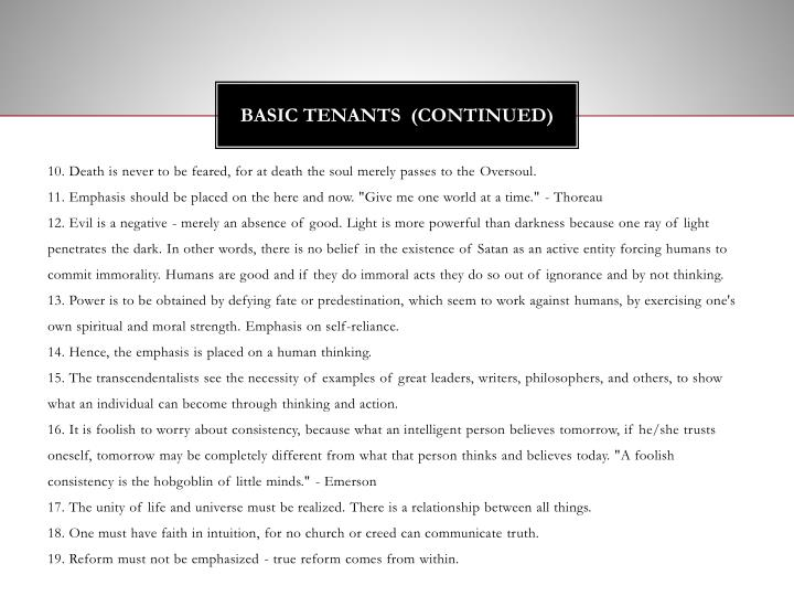 Basic tenants continued