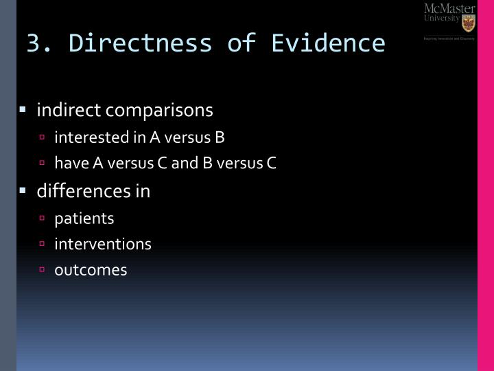 3. Directness of Evidence