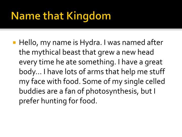 Name that Kingdom