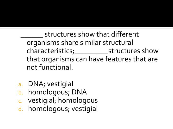______ structures show that different organisms share similar structural