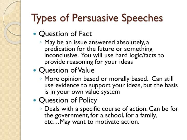 persuasive speeches deal primarily with value fact and Topics for persuasive speeches arguing either side of an issue doctor-assisted suicide should (or should not) be legal.