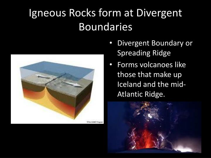 Igneous Rocks form at Divergent Boundaries