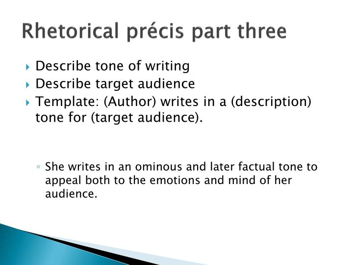 Ppt  Rhetorical Analysis The Rhetorical Prcis Foundation For An
