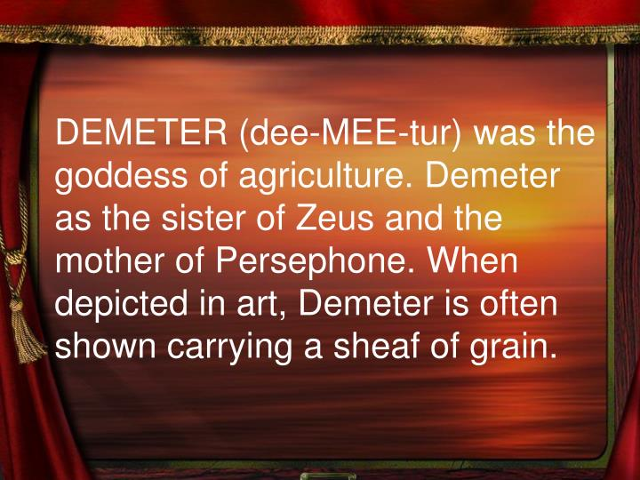 demeter the goddess of agriculture