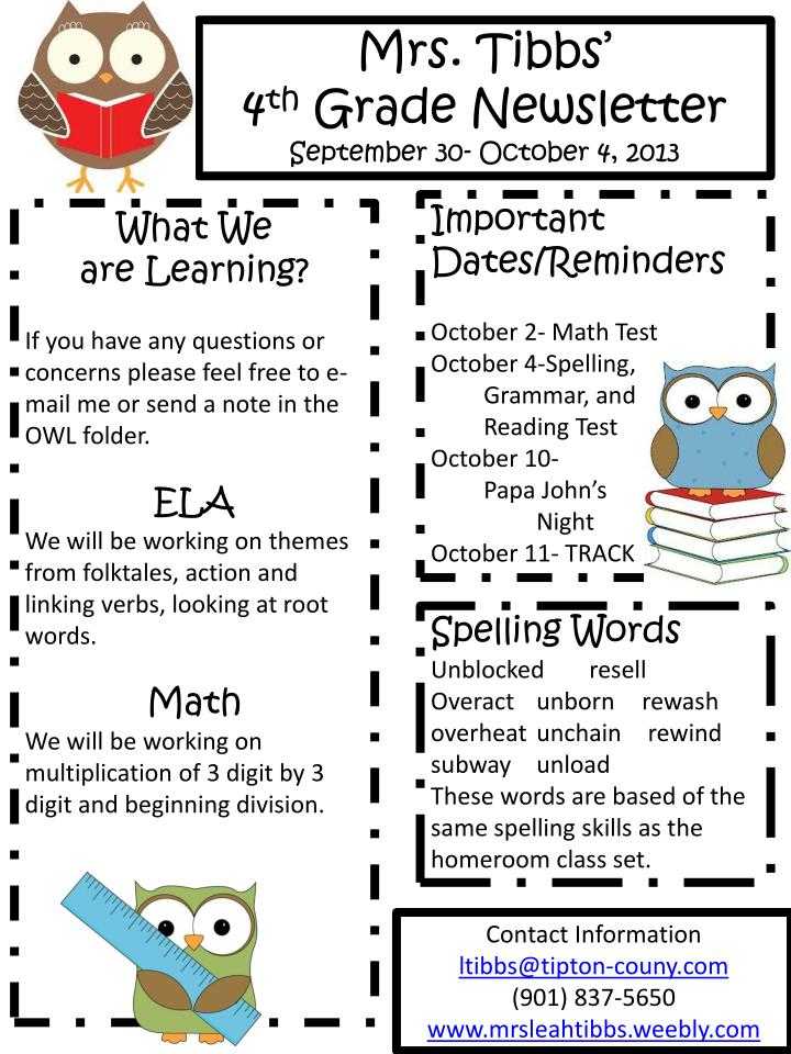 4th Grade Newsletter. September 30- October ...