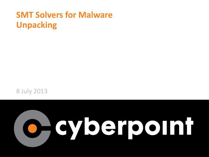 smt solvers for malware unpacking n.