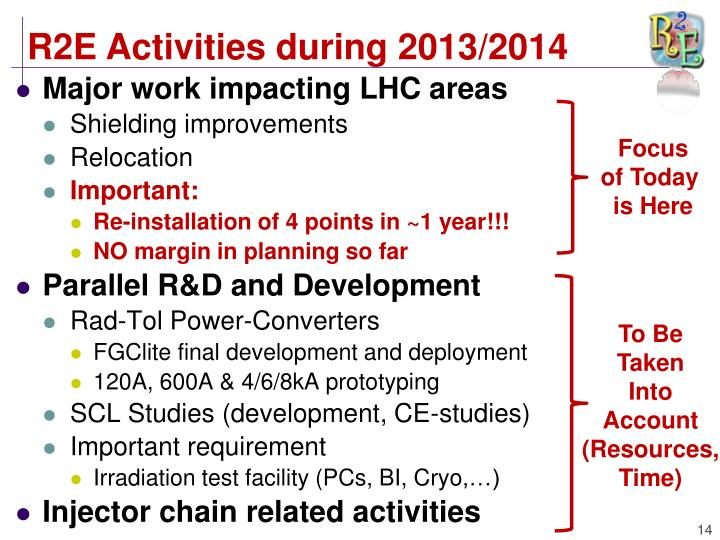 R2E Activities during 2013/2014