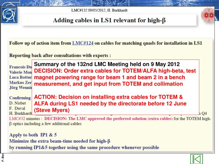 Summary of the 132nd LMC Meeting held on 9 May 2012