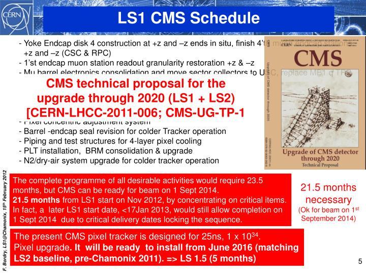 LS1 CMS Schedule