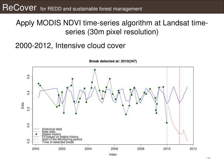 Apply MODIS NDVI time-series algorithm at Landsat time-series (30m pixel resolution)