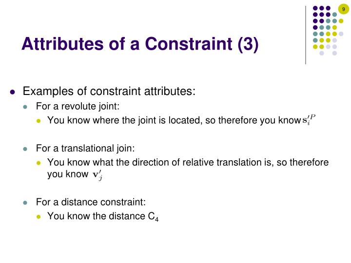 Attributes of a Constraint