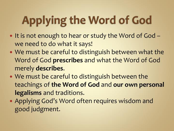 Applying the word of god1