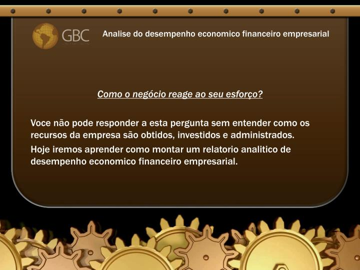 Analise do desempenho economico financeiro empresarial