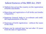salient features of the rbd act 1969