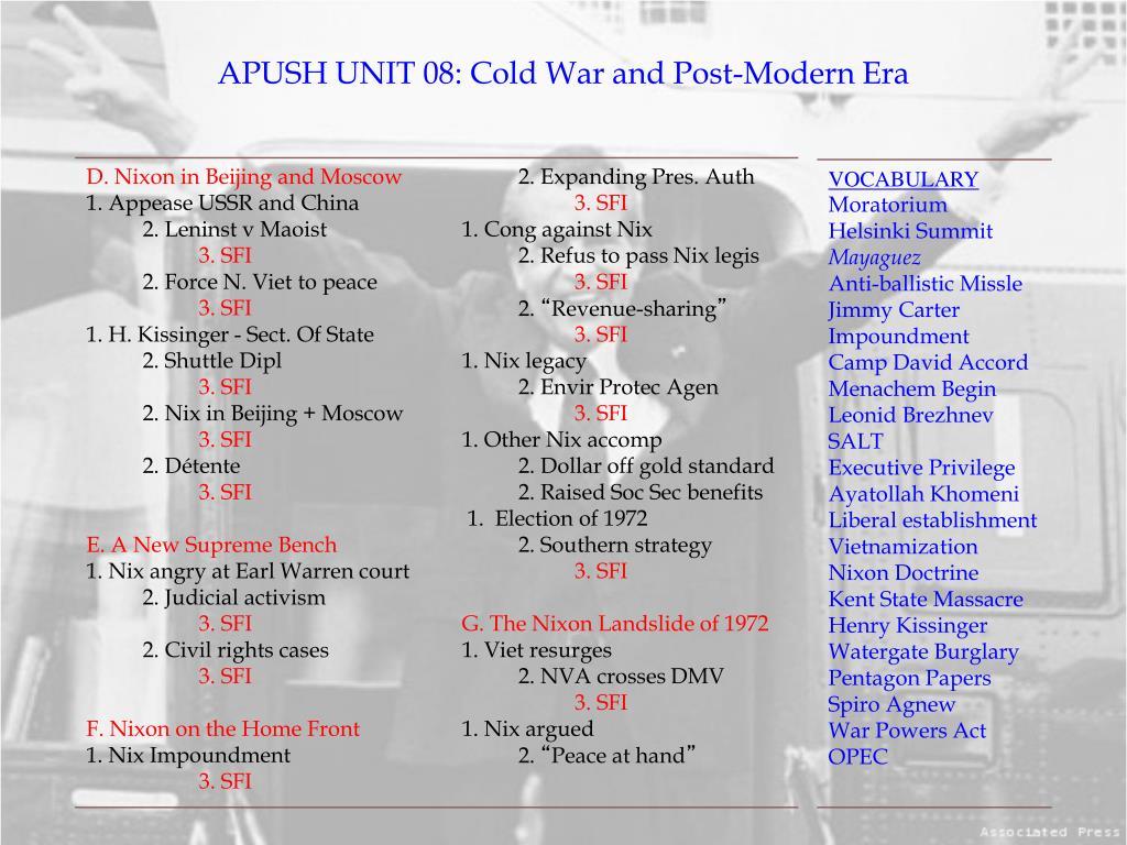 PPT - APUSH UNIT 08: Cold War and Post-Modern Era PowerPoint