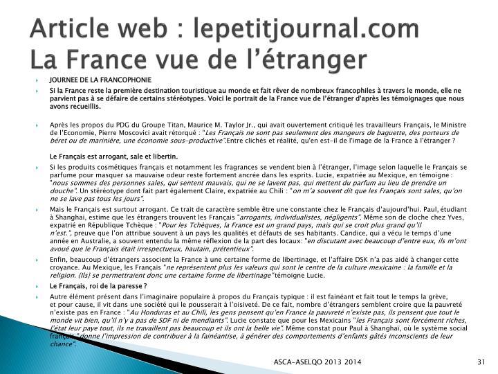 Article web : lepetitjournal.com