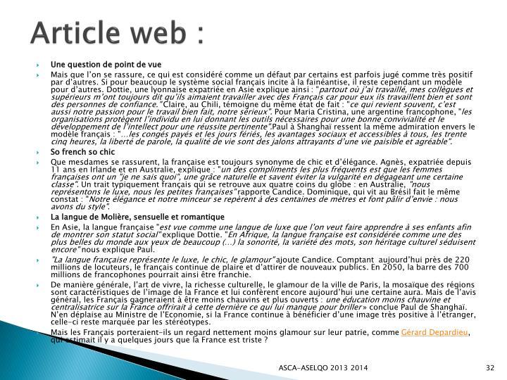 Article web :