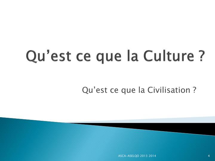 Qu'est ce que la Culture ?
