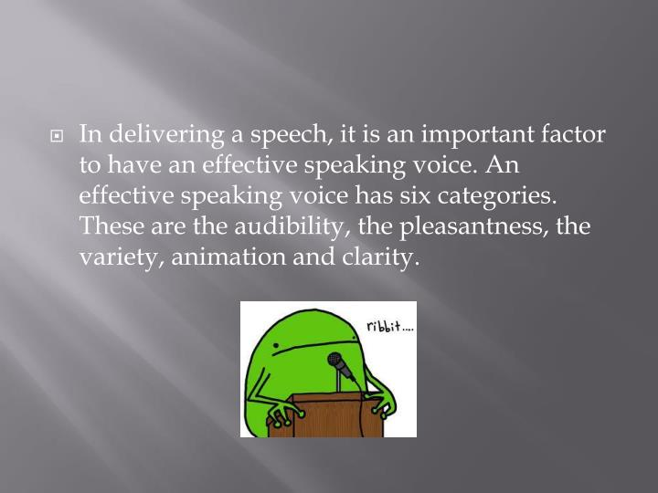 In delivering a speech, it is an important factor to have an effective speaking voice. An effective ...