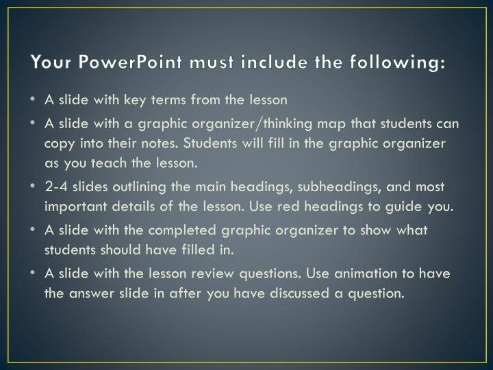 Your powerpoint must include the following