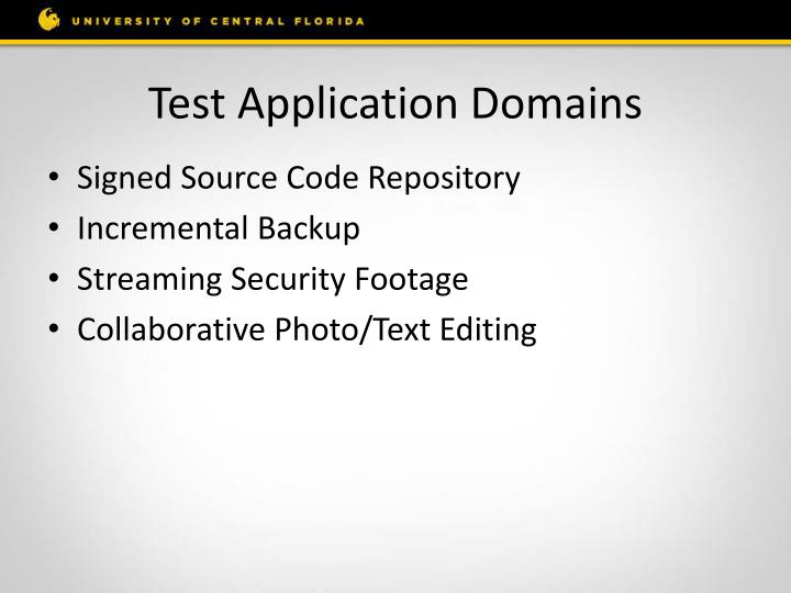 Test Application Domains