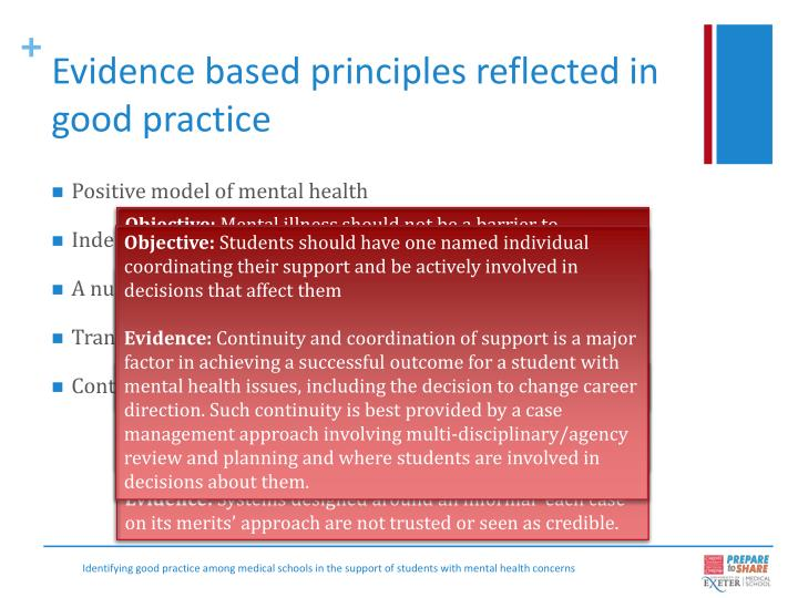 Evidence based principles reflected in good practice