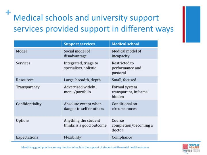 Medical schools and university support services provided support in different ways