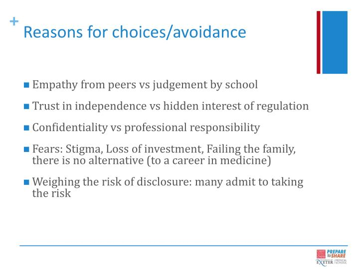 Reasons for choices/avoidance