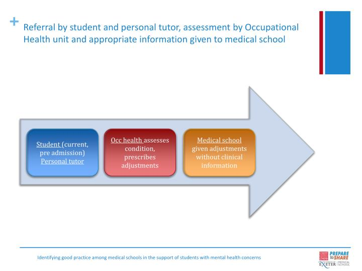 Referral by student and personal tutor, assessment by Occupational Health unit and appropriate information given to medical school