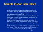 sample lesson plan ideas