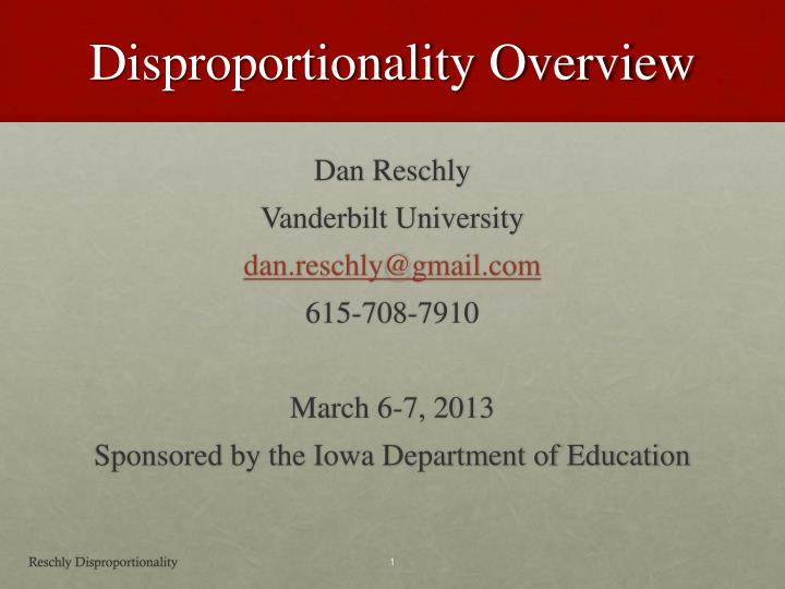 disproportionality overview n.