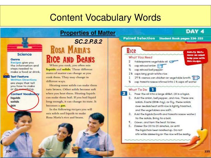 Content Vocabulary Words